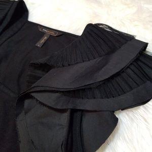 Bcbgmaxazria Black Ruffle Pleated Sleeve Blouse